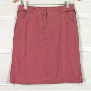J JILL Washed Brick Red 100% Cotton Skirt